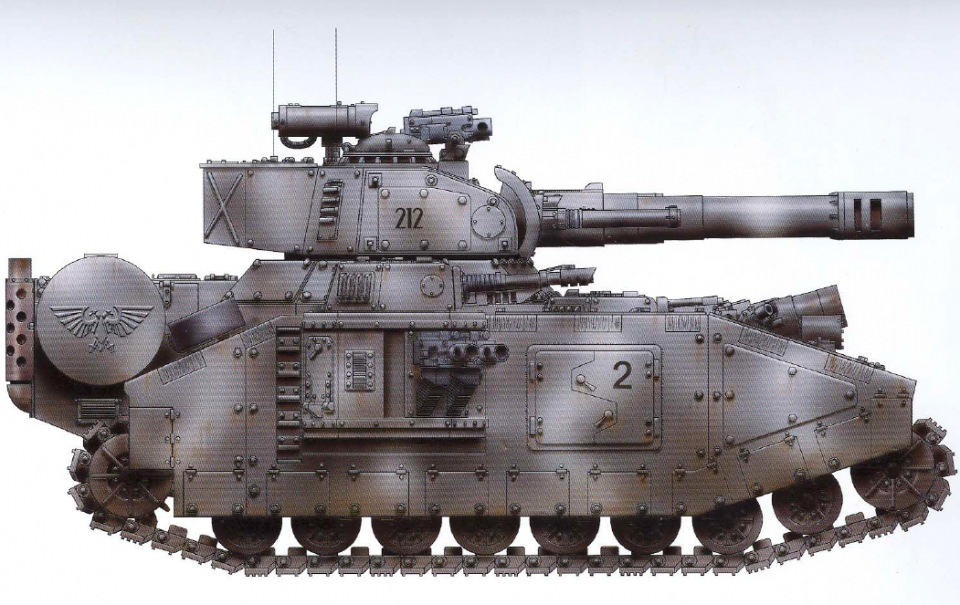 Baneblade (the most common super-heavy tank featuring no less than eleven barrels of immense firepower, one of those being an Earthshaker cannon while another is a Demolisher mortar cannon) (interchangeable sponson-mounted guns as well as an autocannon mounted next to the Earthshaker cannon)