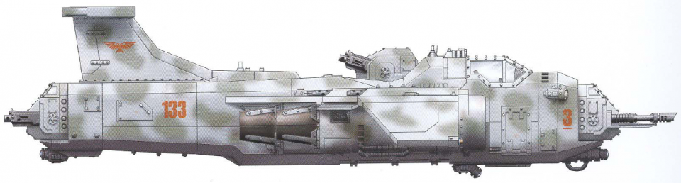 Marauder (flying fortress complete with two twin-linked heavy bolter turrets and a twin-linked forward-mounted lascannon turret) (transport capacity of ten)