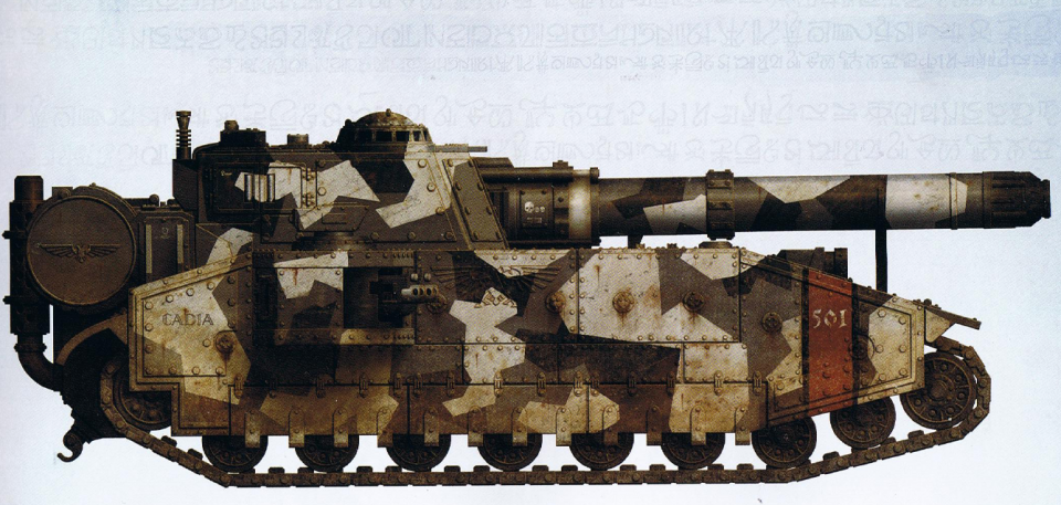 Shadowsword (super-heavy tank featuring the titan-killing Volcano Cannon as well as interchangeable sponson-mounted guns)