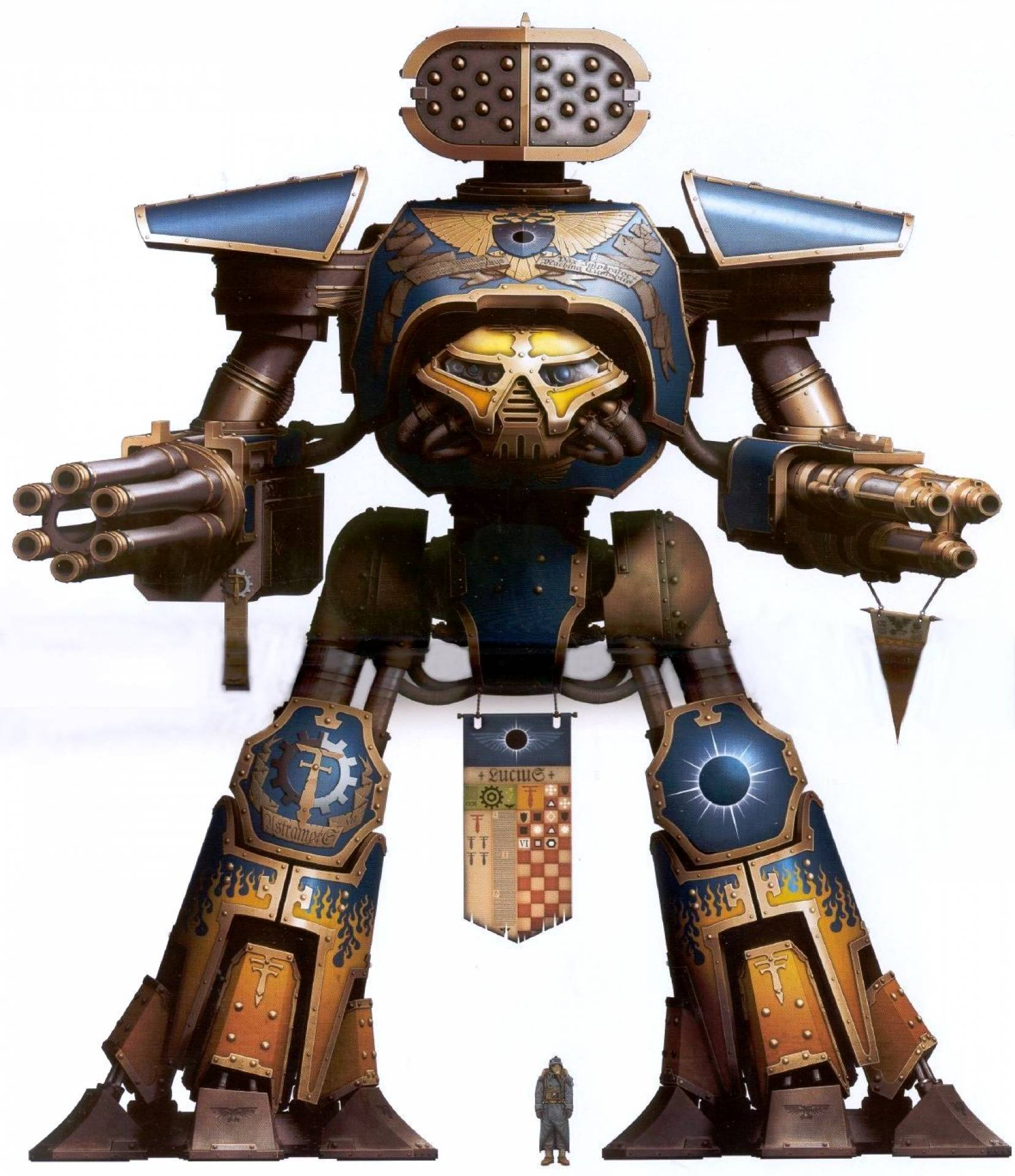 Reaver Titan (the second-largest and most widespread variant of titan featuring two interchangeable arm weapon loadouts as well as a back-mounted Apocalypse Missile Launcher)