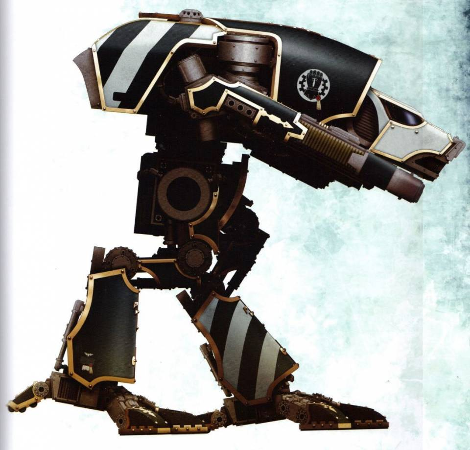 Warhound Titan (smallest variant of titan with interchangeable arm weapon loadouts)