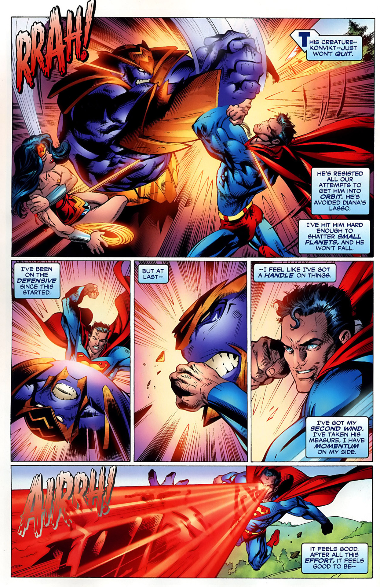 Superman was on the defensive but he could still punch Konvikt hard enough to shatter small planets