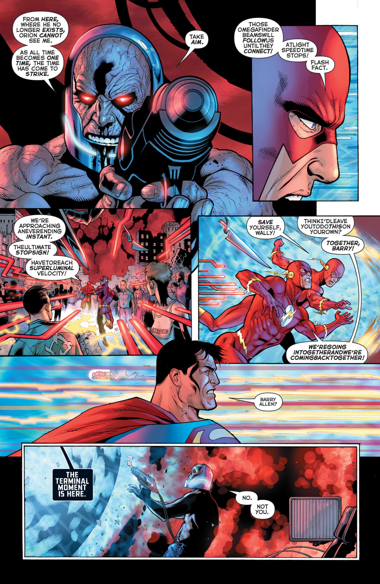 Superman could see Barry Allen running faster than light next to him to avoid the Omega beams and the Black Racer