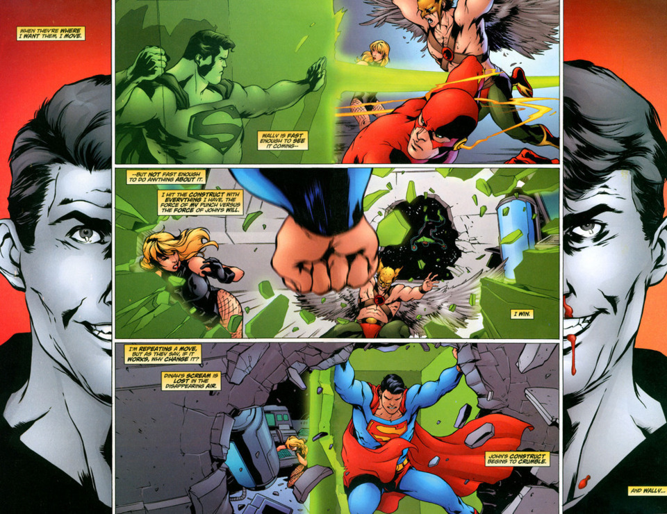 Punching and destroying the John Stewart's construct before Wally West could react