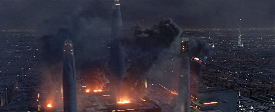 The Jedi Temple in flames