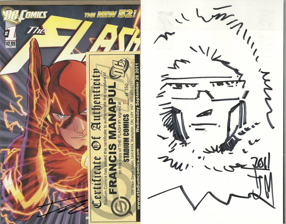 Signed comic #84 of 150, with backboard sketch displayed.