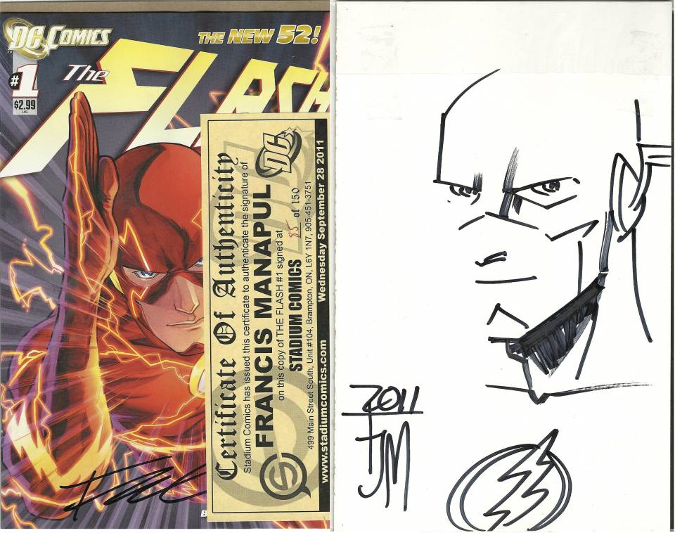 Signed comic #85 of 150, with backboard sketch displayed.