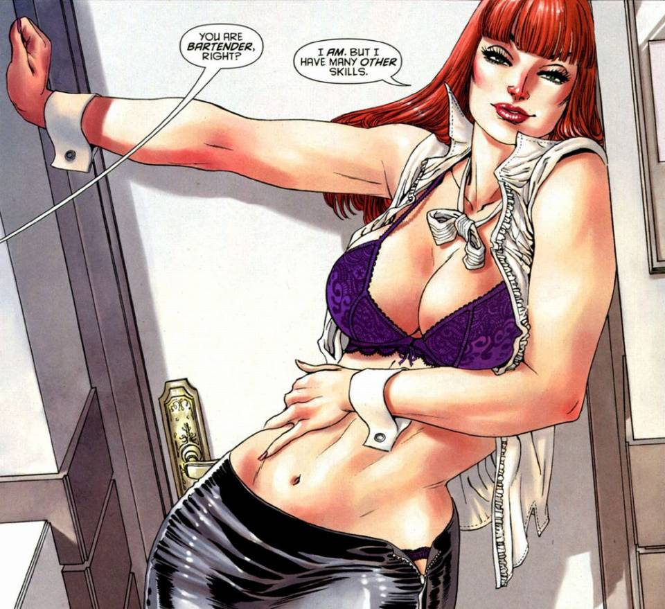 Or in this panel where she is in disguise and trying to seduce a man, I am pretty sure that Selina does not need to show her bra and panties to do so.