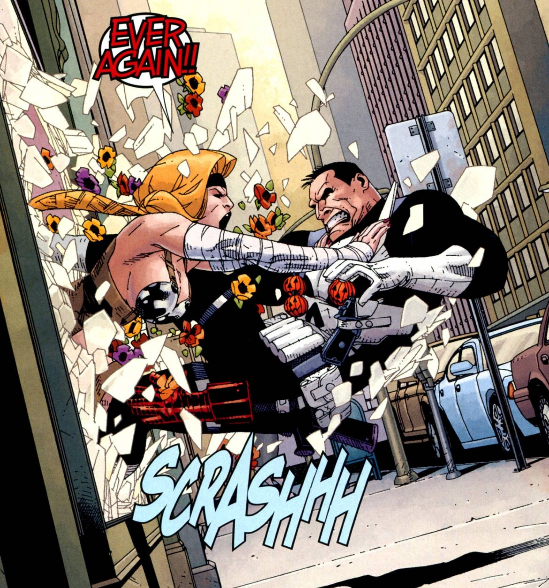 Letha fighting the Punisher