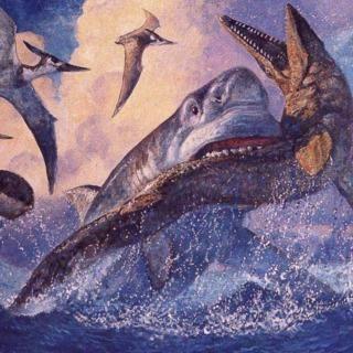 Megalodon eating a Mosasaur - by Dan Varner (1999)
