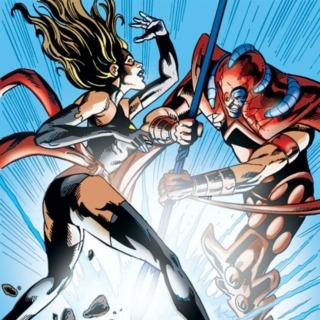 Ms. Marvel vs. Scarlet Centurion by Manuel Garcia