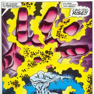 Galactus using the Power Cosmic to revive the Silver Surfer